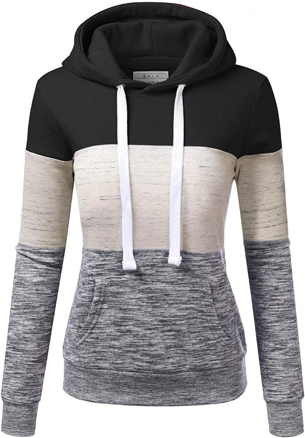 Hoodies for Women Plus Size,Womens Color Block Hoodie Sweatshirts Stitching Color Drawstring Pullover Casual Tops