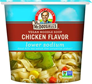 Dr. McDougall's Right Foods Vegan Chicken Flavor Noodle Soup Light Sodium, 1.4 Ounce..