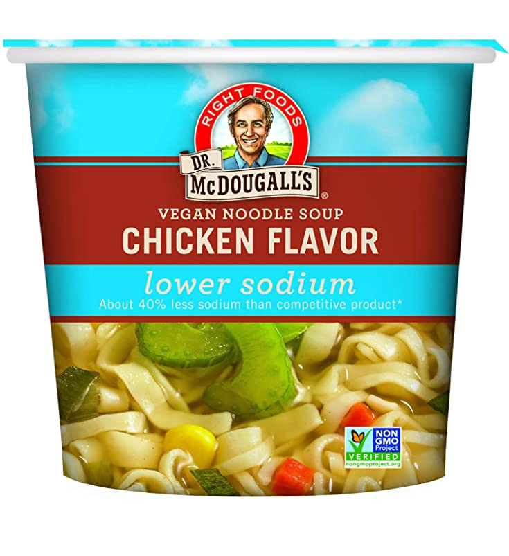 Dr. McDougall's Right Foods Vegan Chicken Flavor Noodle Soup Light Sodium, 1.4 Ounce Cups (Pack of 6) Non-GMO, No Added Oil, Paper Cups From Certified Sustainably-Managed Forests yqwwjbnf513186