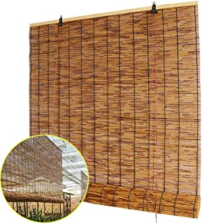 Bamboo Roller Blinds, Made of Reed, Natural Straw Curtains, Eco Friendly Roman Shades, Vintage Decorative Curtains, for Windows, Balconies, Interiors, Customizable