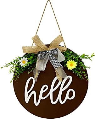Hello Sign for Front Door Wreath Door Rustic Round Wooden Welcome Sign for Hanging Farmhouse Porch Spring Decoration (Brown)