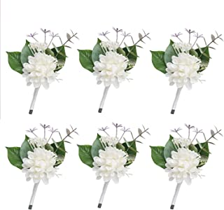 Ling's moment Ivory Boutonniere for Wedding Set of 6 Dahlia Groom Boutonniere for Wedding Boutonniere for Men Rustic Decor Wedding Flowers