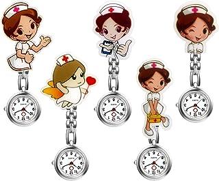 Women Ladies Nurse Watch Cute Cartoon Clip-on Lapel Hanging Pendant Doctor Clinic Staff Tunic Stethoscope Badge Quartz Fob Watch