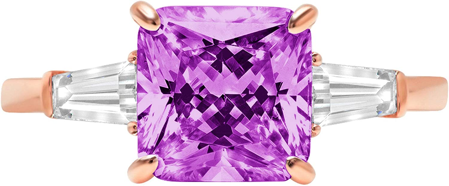 3.55 ct Asscher Baguette cut 3 stone Solitaire with Accent Stunning Genuine Flawless Simulated Purple Alexandrite Modern Promise Statement Designer Ring 14k Rose Gold