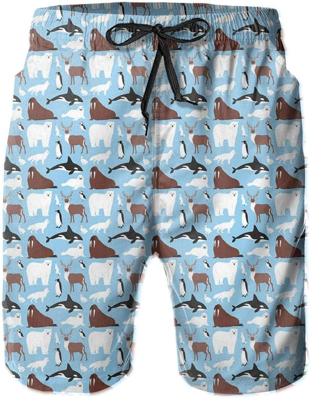 Arctic Animals On an Aquatic Background Mens Swim Trucks Shorts with Mesh Lining,XXL