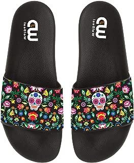Sugar Cute Skull Flower Print Summer Slide Slippers for Men Women Kid Indoor Open-Toe Sandal Shoes