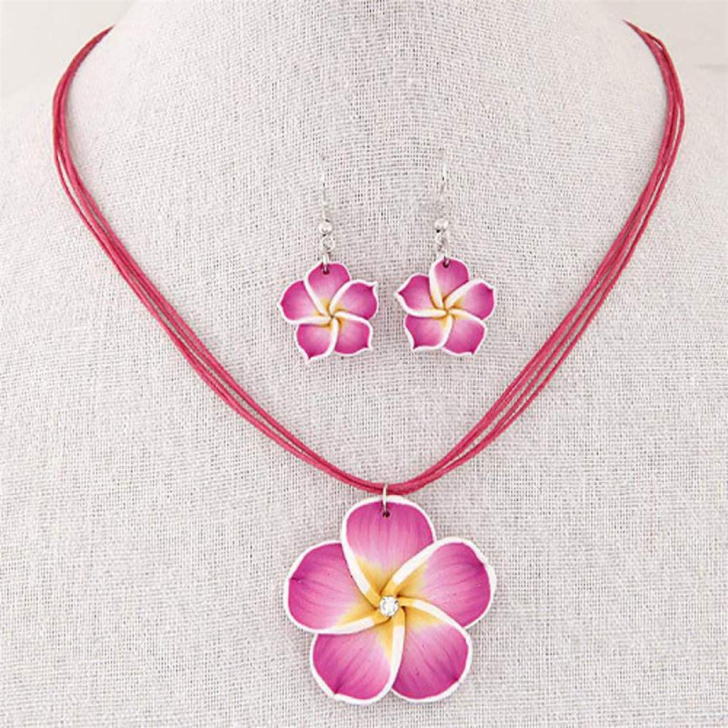 Timesuper Women's Cute Necklace Plumeria Hawaii Flower Polymer Clay Earrings Pendant Necklace Jewelry Sets,Rose Red