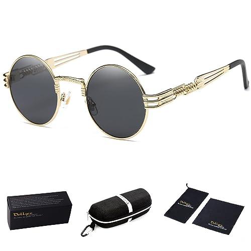 d766af12a9 Dollger John Lennon Round Sunglasses Steampunk Metal Frame