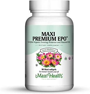 Maxi-Health Evening Primrose and Flax Seeds Oil Softgels - Vegan Omega 3 6 9 Supplements for Healthy Skin, Hair, and Joint...