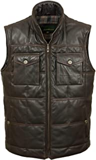HIDEPARK Monty: Men's Black Antique Leather Bodywarmer