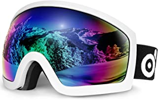 Odoland OTG skidglasögon med anti-dimma, anti-bländning och UV400-skyddslins, dubbla sfäriska glasögon för skidåkning skri...