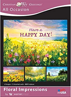 Floral Impressions - All Occasion Greeting Cards - KJV Scripture - (Box of 12)