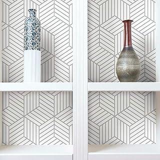 RoomMates RMK10705WP Metallic Silver Striped Hexagon Peel and Stick Wallpaper