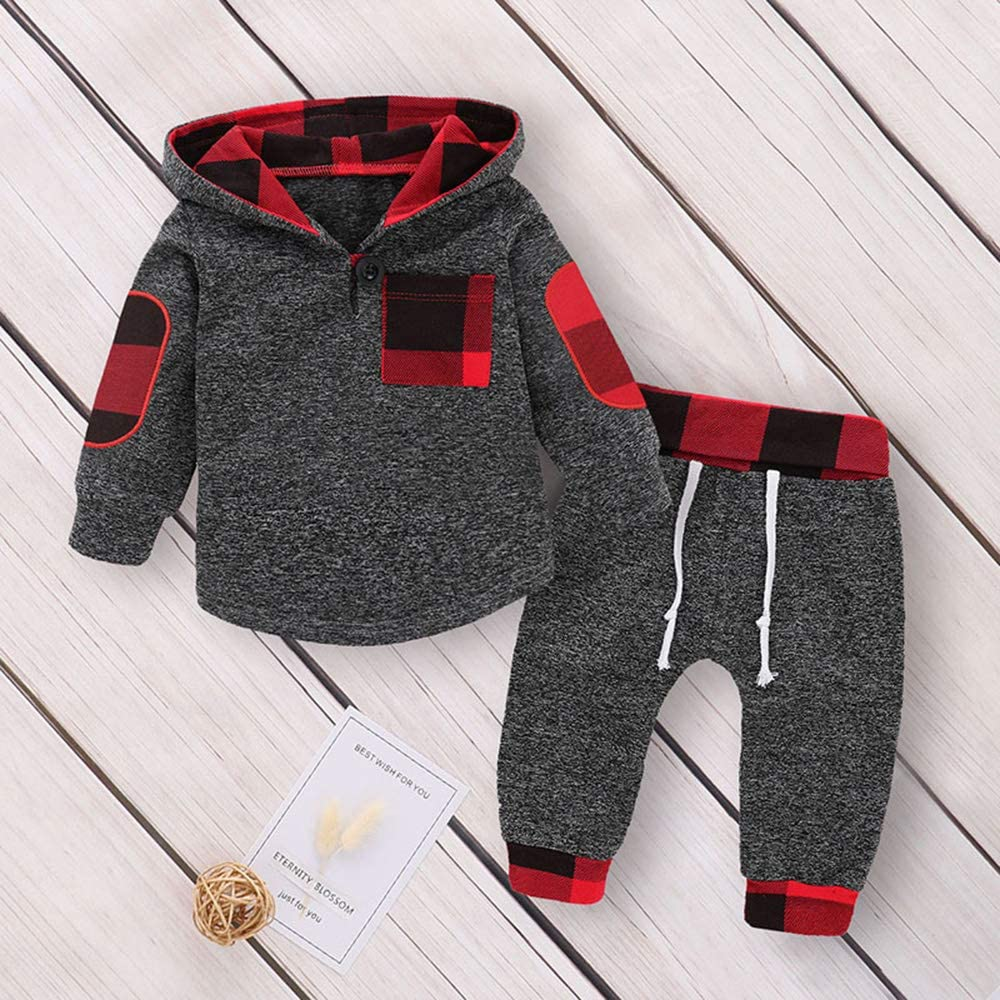 Infant Toddler Boys Girls Sweatshirt Set Winter Fall Clothes Outfit 0-3 Years Old, Baby Plaid Hooded Tops Pants: Clothing