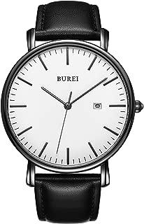 BUREI Men's Watch Ultra Thin Black Quartz Analog Wrist Watch Date Calendar Stainless..