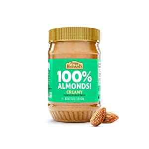 Almond Butter No Sugar Added, Made with Dry Roasted Almonds, Non-GMO Bulk Pack of 1 x 16oz Nut Butter Jar – Crazy Richard's