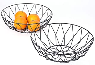 Yesland 2 Pack Black Wire Metal Fruit Basket/Dish/Bowl - 10.5 x 3.5 x 5.5 Inches for Kitchen & Living Room Use