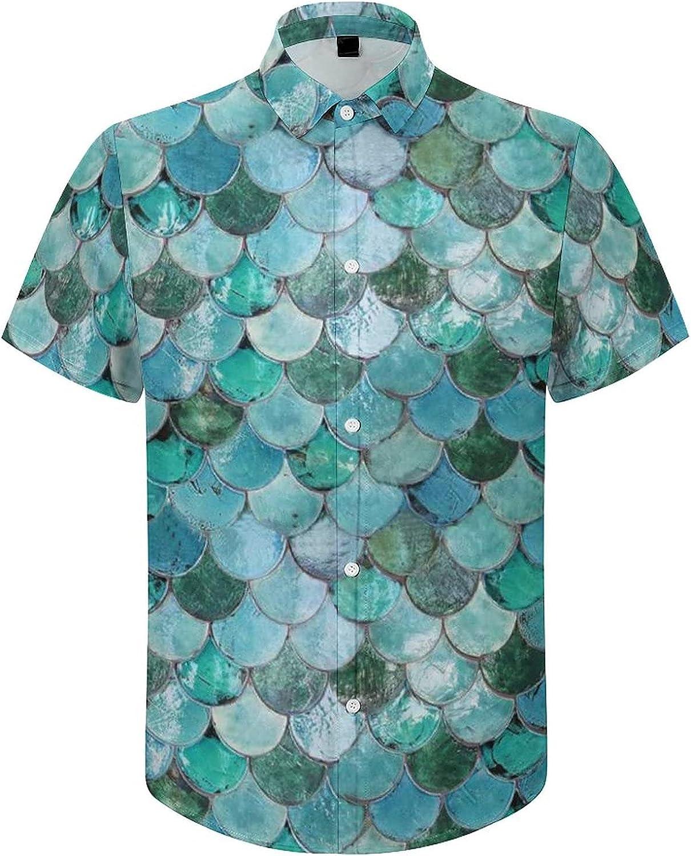 Men's Short Sleeve Button Down Shirt Blue Mermaid Scales Summer Shirts