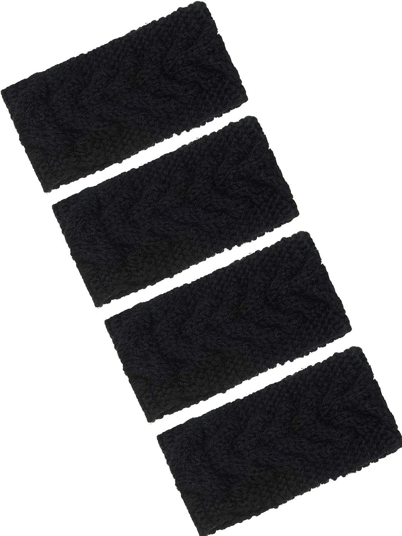 4 Pieces Winter Ear Warmers Headbands Women Warm Knitted Headband Braided Crochet Head Wraps for Girl (Black)
