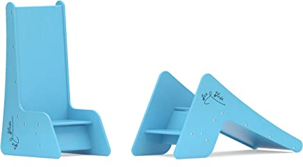 First Toddler Chair and Slide for Kids - Sit and Slide 2 in 1. Real Wood Color Light Blue