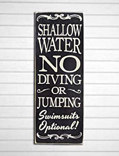 GMK Shallow Water No Diving Or Jumping Swimsuits Optional Wood Sign,