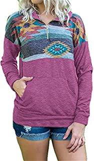 Women's Camo Aztec Printed Quarter Zip Pullovers Sweatshirts with Pocket