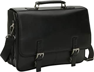 Kenneth Cole Reaction Genuine Leather Dual Compartment Flapover Business Portfolio, Black
