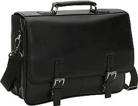 Kenneth Cole Reaction Genuine Leather Dual Compartment Flapover Business Portfolio, Black