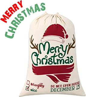 Blank Santa Sack, HBlife Christmas Gift Bags with Drawstring Large Size 27.6
