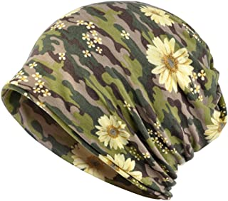 Jemis Womens Cotton Chemo Hat Beanie Scarf - Beanie Cap Bandana for Cancer (Camouflage Green)