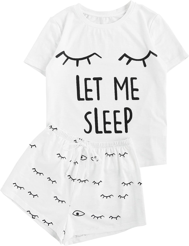 WDIRARA Women's Cute Cartoon Print Closed Eyes Print Tee and Shorts Pajama Set
