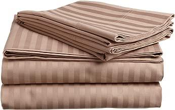 100% Egyptian Cotton 650 Thread Count Twin XL 3-Piece Sheet Set, Deep Pocket, Single Ply, Stripe, Taupe