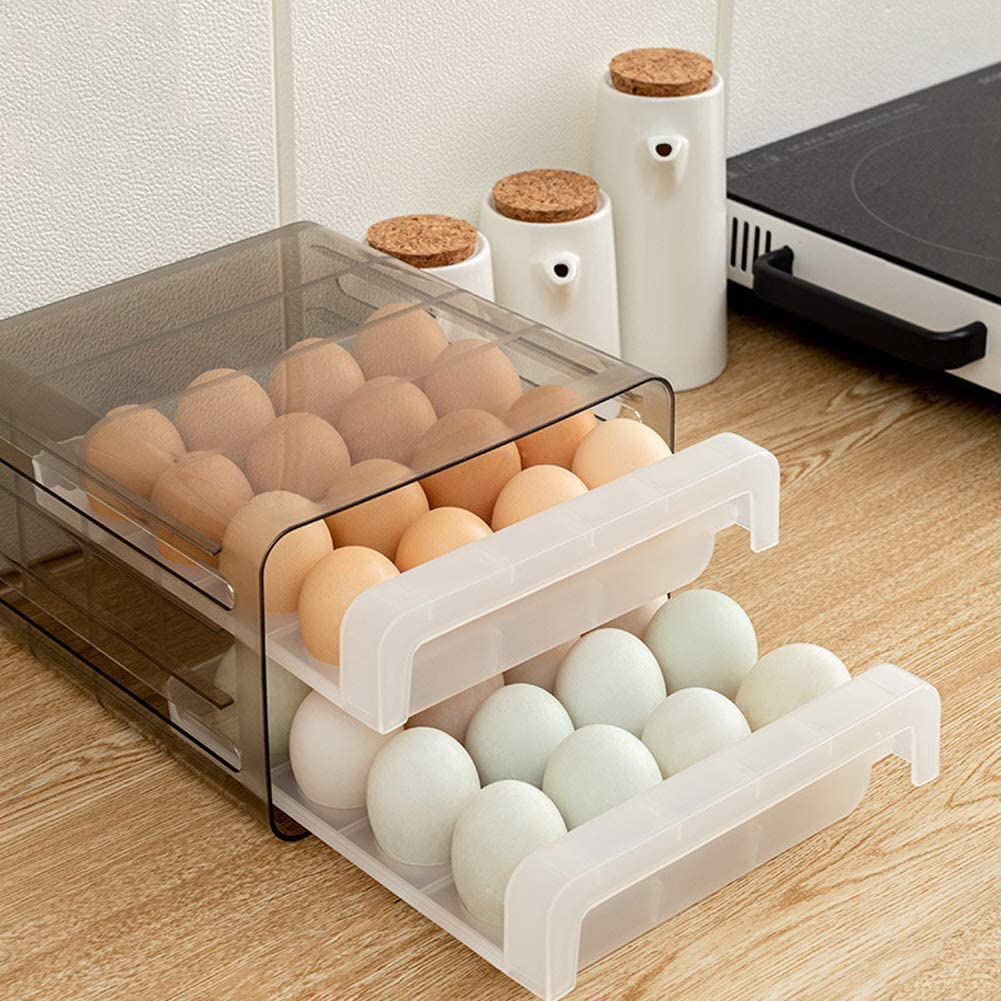 debieborahtoys 2 Layers Plastic Egg Holder Clear Egg Tray with Lid Portable Egg Carrier Egg Container Eggs Storage Box for 32 Eggs
