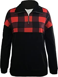 Women Plaid Quarter Zip up Lightweight Pullover Color Block Long Sleeve Sweatshirt Tops
