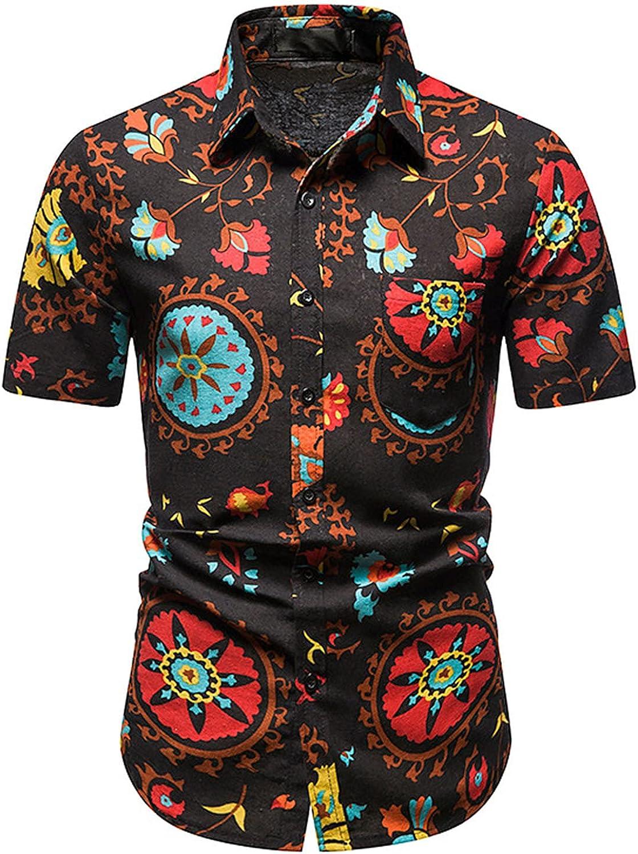 Mens Africal Ethnic Print Shrit Short Sleeve Vintage Printed Beach Tshirt Summer Casual Button Down Shirts