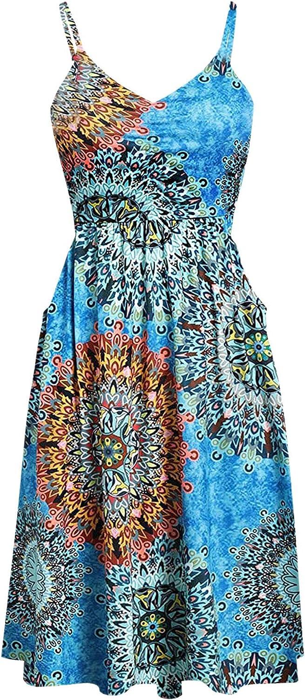 INNOVIERA Womens Dresses Casual,Women's Dresses Wrap V Neck Strap Sleeveless Midi Dress Party Boho Sundress with Pockets