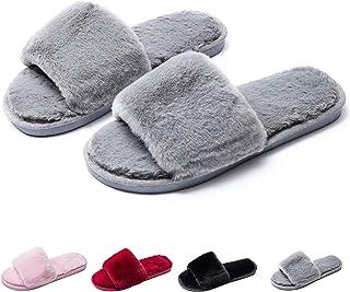 Sponsored Ad - Fuzzy Fluffy Slides Fur House Slippers for Women Slip On Memory Foam Sandals Slippers Open Toe Slippers Wom...