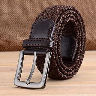 YAOLUU Lona Estirada Cinturón Tejido Hombres Hebilla Cinturón elástico Cinturón Cinturón Femenino Casual L110-115 × W3.4CM...