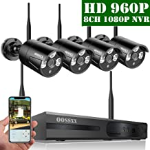 【2019 Update】 OOSSXX HD 1080P 8-Channel Wireless Security Camera System,4 pcs 960P 1.3 Megapixel Wireless Weatherproof Bullet IP Cameras,Plug Play,70FT Night Vision,P2P,App, No Hard Drive