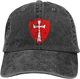 Distressed Knight Templar Crusader Adult Dad Hat Baseball Hat Vintage Washed Distressed Cap