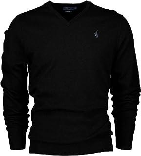 e2444350e7b790 Polo Ralph Lauren Men's Pima Cotton V-Neck Pony Logo Sweater (Medium, Black