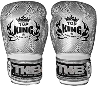 Top King Boxing Gloves Snake Design Air Silver Black