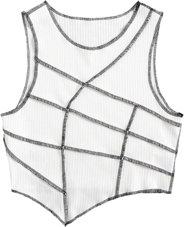 Milumia Women's Asymmetrical Hem Crewneck Ribbed Knit Contrast Stitch Crop Tank Top