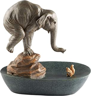 ART & ARTIFACT Elephant and Squirrel Tabletop Water Fountain