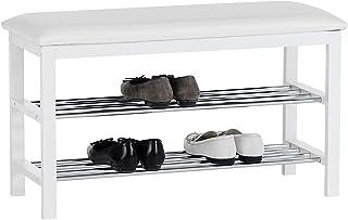 IDIMEX Meuble à Chaussures Sana Banc avec Assise et 2 étagères Rangement pour 8 Paires en Bois Massif de Coloris Blanc