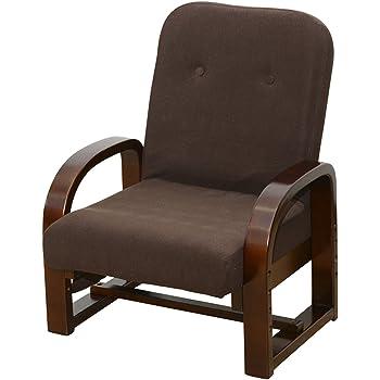 山善 高座椅子 リクライニング(背もたれ) ミドルバック 立ち座りがラク 高さ調節可能 腰にフィットする背もたれ ぐらつきにくい 組立品 ダークブラウン CTZ-55(DBR)