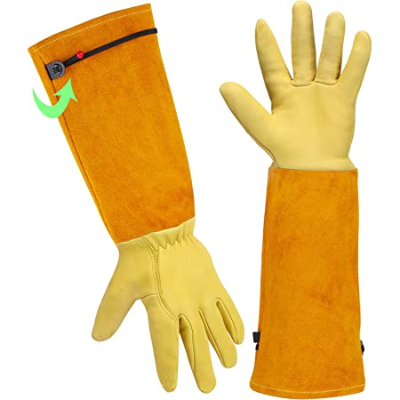 Gardening Gloves Gardening Gifts for Women/Men - Heavy Duty Gardening Gloves Thorn Proof, Rose Pruning Gloves Gardening Tools Mens Ladies Gardening Gifts Long Gardening Gloves Leather Gauntlet Gloves