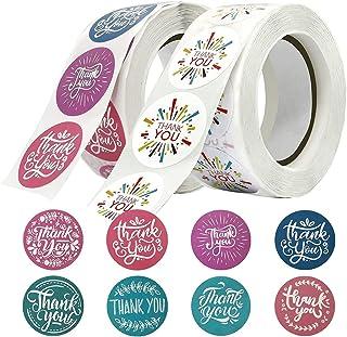 Thank You Stickers, ELECDON 1000 Pcs Thank You Sticker Rolls, 2 Roll Thank You Sticker Envelope Seals for Packaging, Envel...