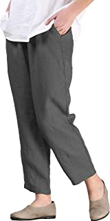 Women's Linen Ankle Pants Capris Cropped Tapered Trousers with Pockets