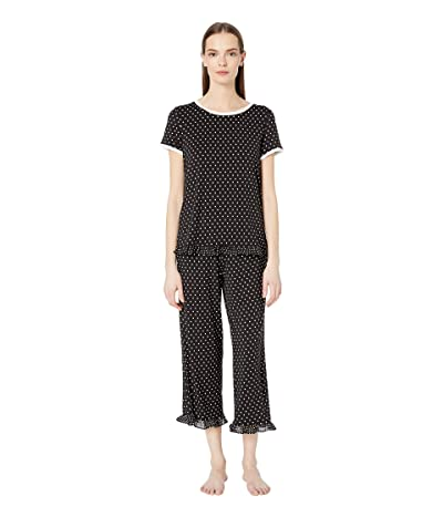 Kate Spade New York Classic Dot Cropped Pajama Set (Mini Dot Black) Women